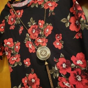 Red and black floral shirt